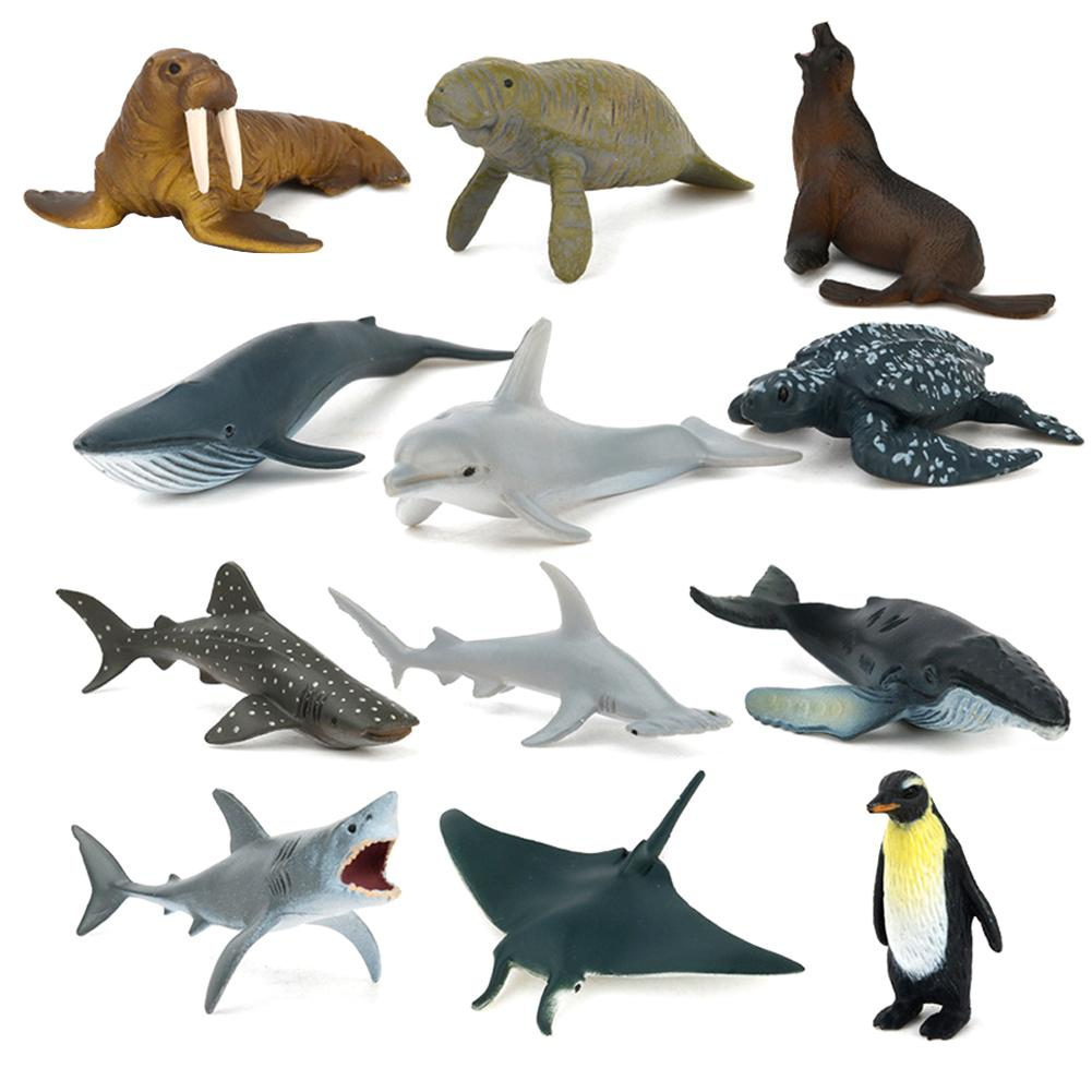 12PCS New Kids Children Toy Educational Simulation Wild Ocean Fish Model Simulated Marine Animal Model Whale Narwhal image