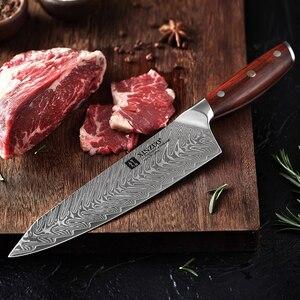 Image 5 - XINZUO 8.5 بوصة سكين الطاهي اليابانية VG10 دمشق سكاكين المطبخ الفولاذ المقاوم للصدأ تقطيع اللحوم سكينة للطبخ روزوود مقبض