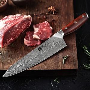 Image 5 - Xinzuo 8.5 Inch Koksmes Japanse VG10 Damascus Keukenmessen Roestvrij Staal Snijden Vlees Koken Mes Palissander Handvat