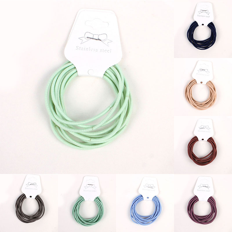 10Pcs 5cm Colorful Mixing Elastic Hairbands Diameter 5cm High Quality For Women Men Girl Kids Hair Rope Hair Ring Accessories