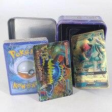42 шт. карточки с покемонами для детей играть карточная игрушка коллекции металла в коробке VIP Золотая карта