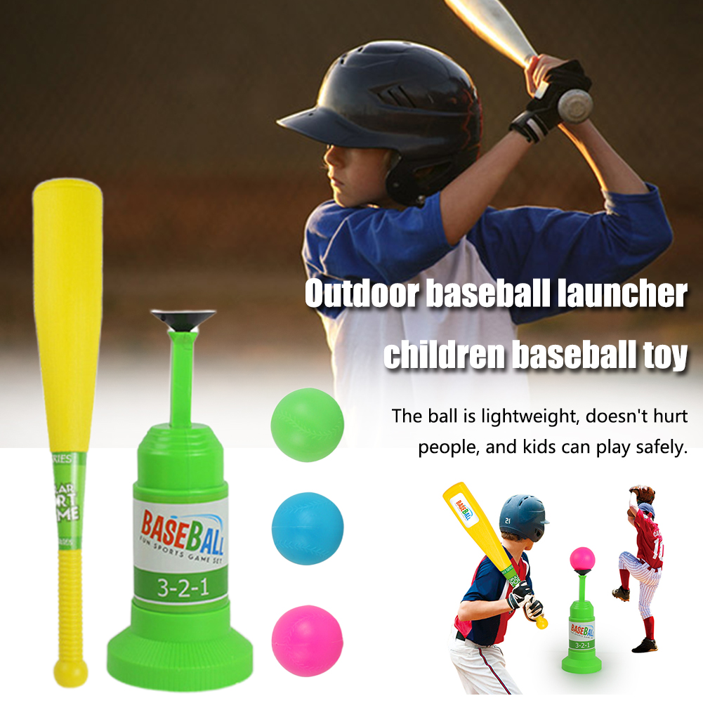 Sports Game Kindergarten Safety Indoor Fitness Baseball Toy Set Automatic Launcher Training Kids Bat Parent-child Interaction