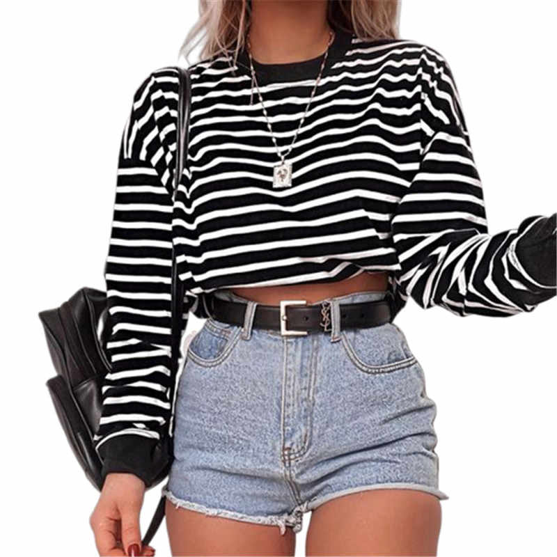 2019 Casual Womens Pullover Crop Tops Long Sleeve O-Neck Solid Sweatshirt Autumn New Lady Sweatshirts Fashion Women Pullovers