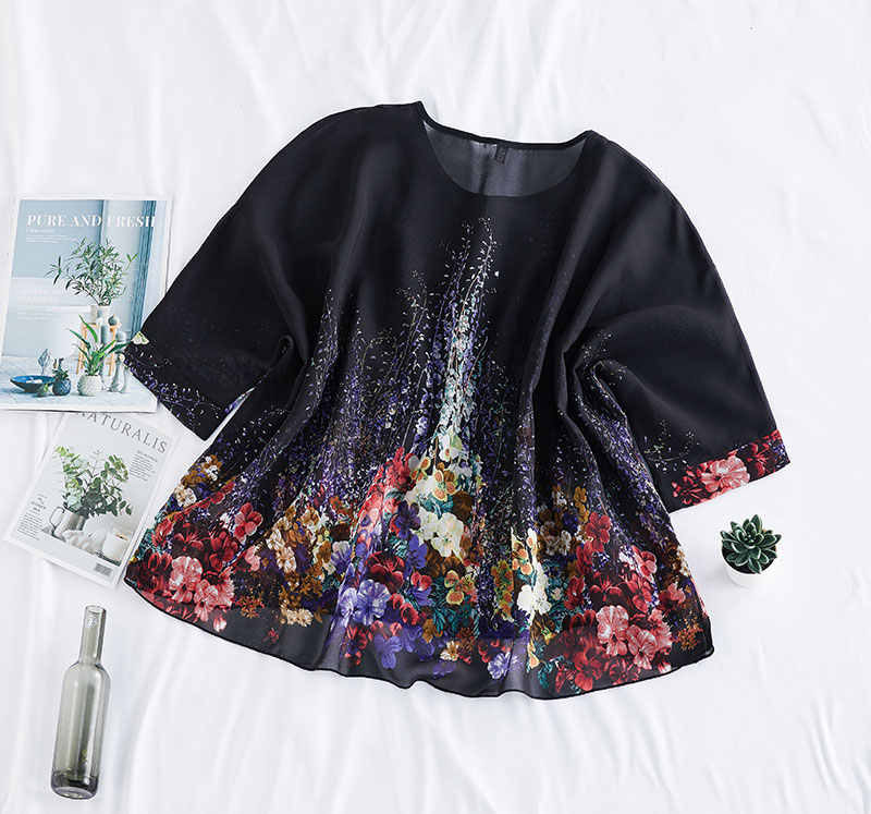 DIMANAF été grande taille femmes Blouse chemise élégant Sexy montre de sport tunique en mousseline de soie imprimé fleuri mince surdimensionné femme vêtements 2020