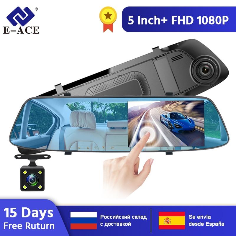 E-ACE  Car DVR Camera 5 inch Touch Screen Dual Lens Rearview Mirror Video Recorder FHD 1080P Automobile DVR Mirror Dash cam