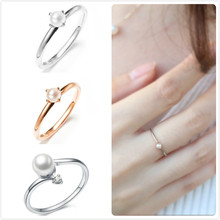 Dainty Pearl Rings for Women Wedding Engagement Promise Rings Girl Party Zircon Finger Ring Female Valentine Gift anillos R5(China)