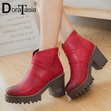 DORATASIA Big Size 32-43 New Ladies Chunky High Heels Boots Casual Party Retro Boots Women Fashion P