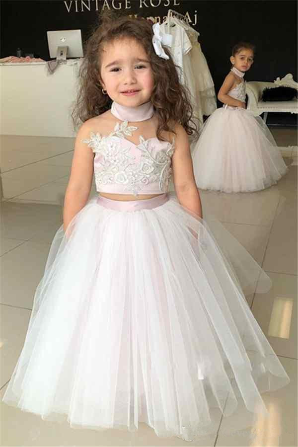 Cute 2019   Flower     Girl     Dresses   For Weddings Ball Gown Halter Tulle Appliques Lace Long First Communion   Dresses   Little   Girl