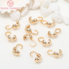 50PCS 5x10MM 24K Gold Color Plated Brass Crimp End Caps Clasps Wire and Thread Covered Clasps Diy Jewelry Findings Accessories