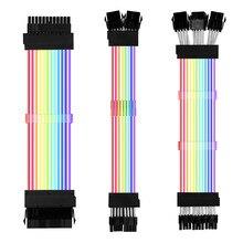 Câble d'extension d'alimentation PSU 2 Gen, RGB ATX 24Pin GPU 8Pin Triple Streamer PCI-E 6 + 2P double cordon arc-en-ciel décoration de boîtier PC