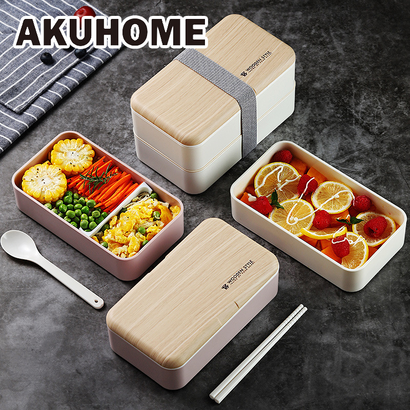 Microwave Double Layer <font><b>Lunch</b></font> <font><b>Box</b></font> 1200ml Wooden Feeling Salad Bento <font><b>Box</b></font> BPA Free Portable Container <font><b>Box</b></font> Workers Student image