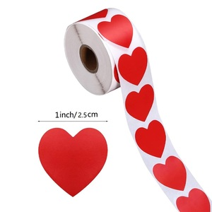 Heart Red Stickers seal labels 50-500pcs Labels stickers scrapbooking for Package and wedding decoration stationery sticker