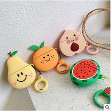 Para Airpods funda 3D Cute Fruit Design funda para auriculares de silicona para Apple Airpods 2 funda con llavero colgante de fresa anillo(China)