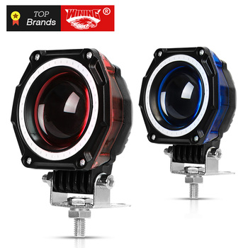 Freeshipping Pair 35W LED work light Hi-low beam Motorbike Driving Spotlight Street Motorcycle Head Light Red blue DRL light
