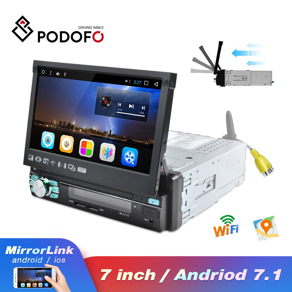 Podofo Car Audio Android Radio Stereo Bluetooth autoradio MP5 Multimedia Player 1DIN 7 Retractable GPS Navigation WiFi SD FM image