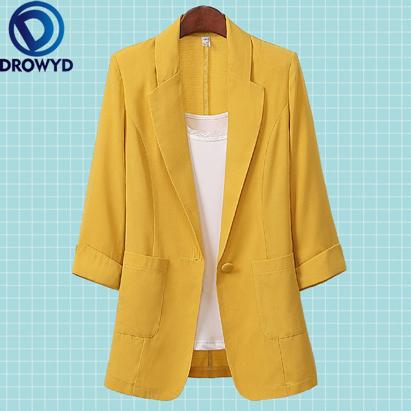 Open Front Notched Blazer 2020 Summer Women Formal Jackets Office Work Loose Fit Blazer White Ladies Suits 3 Colors Size M-4XL