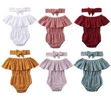 Newborn Baby Girl Rompers Cotton Linen Ruffle Solid Color Off Shoulder Jumpsuit+Headband Sets Sunsuit 0-24Months