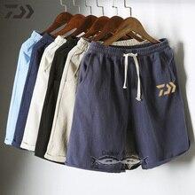 Daiwa брюки для рыбалки Мужская однотонная хлопковая дышащая уличная летняя одежда для рыбалки льняные трикотажные брюки с завязками M-5XL