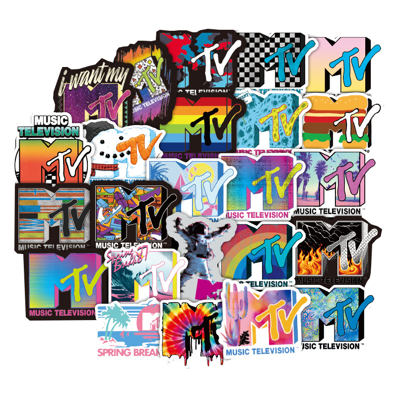 New50Pcs MTV Music TV Channel Sticker For Computer Skateboard Luggage Refrigerator Motorcycle Decoration Toy Gift Sticker