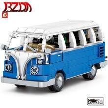 BZDA autobus samochodowy klocki pekin Auto muzeum samochody Camper Model klocki dla dzieci zabawki edukacyjne urodziny prezenty