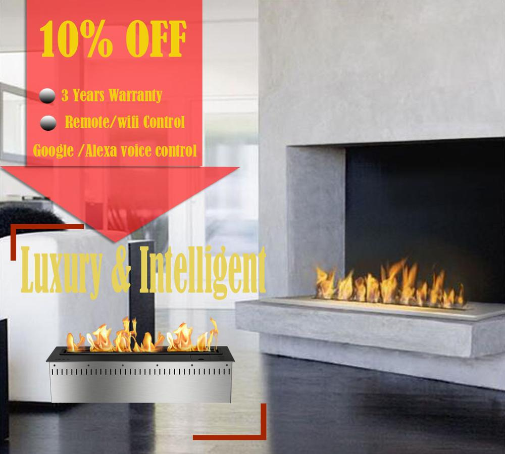 Inno Living Fire 48 Inch Indoor Use Bio Ethanol Inset Remote Fireplace