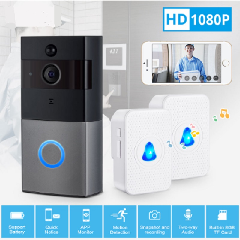 Wireless WiFi HD 1080P Video Doorbell Home Security PIR Motion Detection Remote Intercom 6 LED APP Message Push Door Bell