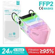 Ffp2 mascarillas coreanas kn95 fpp2 aprovado peixe coreano máscara facial 4 camadas mascherine ffp 2 adulto ffpp2 máscara de rosa ffp2mask
