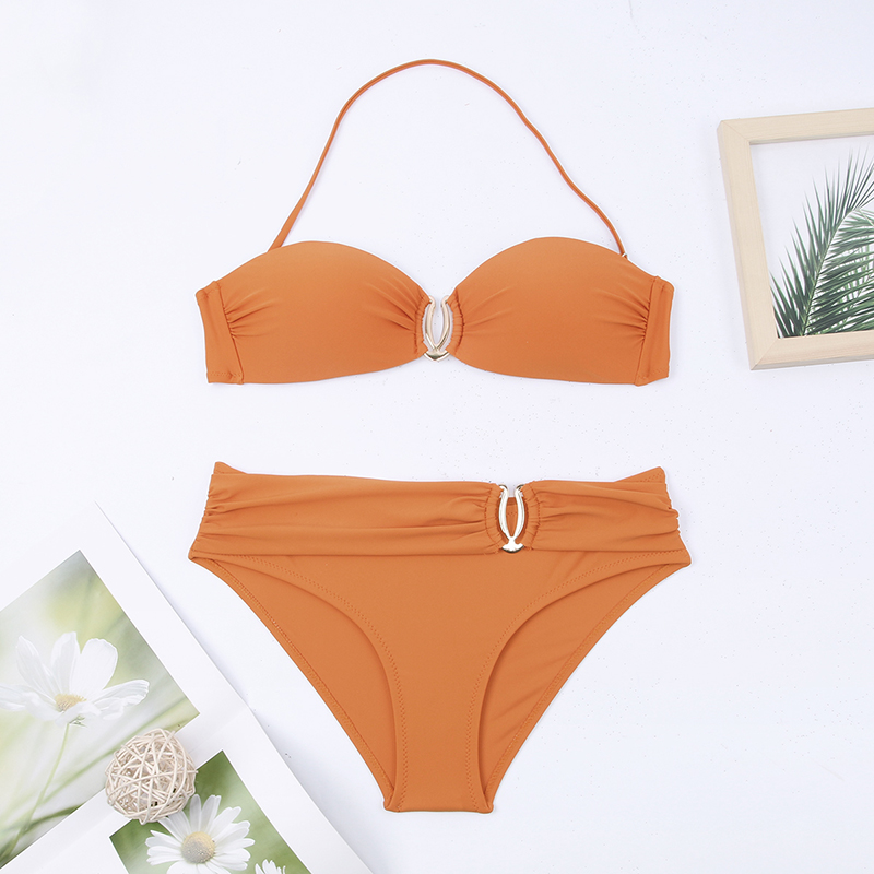 H86e8e872da8d4962899bc4fef116998aG - Sexy Bikini Push Up Solid Swimsuit Female Bikinis String Bathing Suit Women Swimwear Bandaeu V Neck Biquini Bikini Set