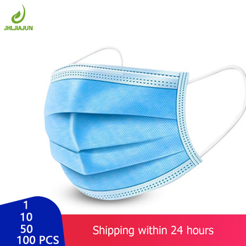 50pcs Disposable Mask Face Mouth Mask Non-Woven Prevent Anti-Dust 3 Layers Anti Haze Earloops Masks