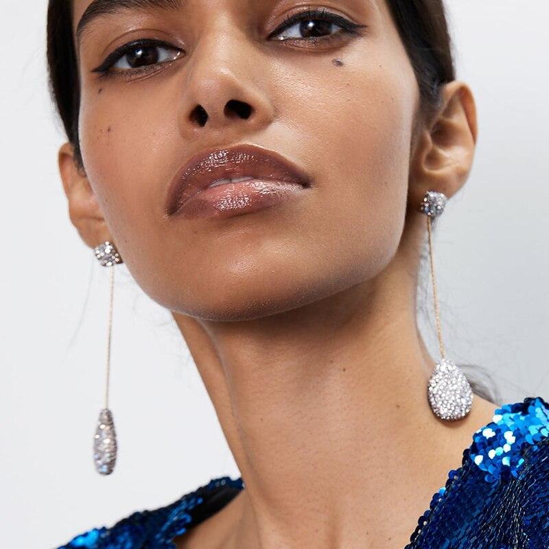JURAN 28 Design Za Bohemian Long Crystal Drop Earrings For Women Jewelry Trendy Metal Maxi Statement Earrings Accessories Bijoux