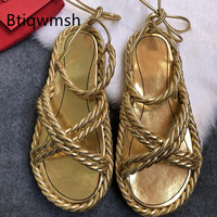 Gold Leather Weave Sandals Women Open Toe Cross Strap Flat Shoes Woman Fashion Bandage Sandals