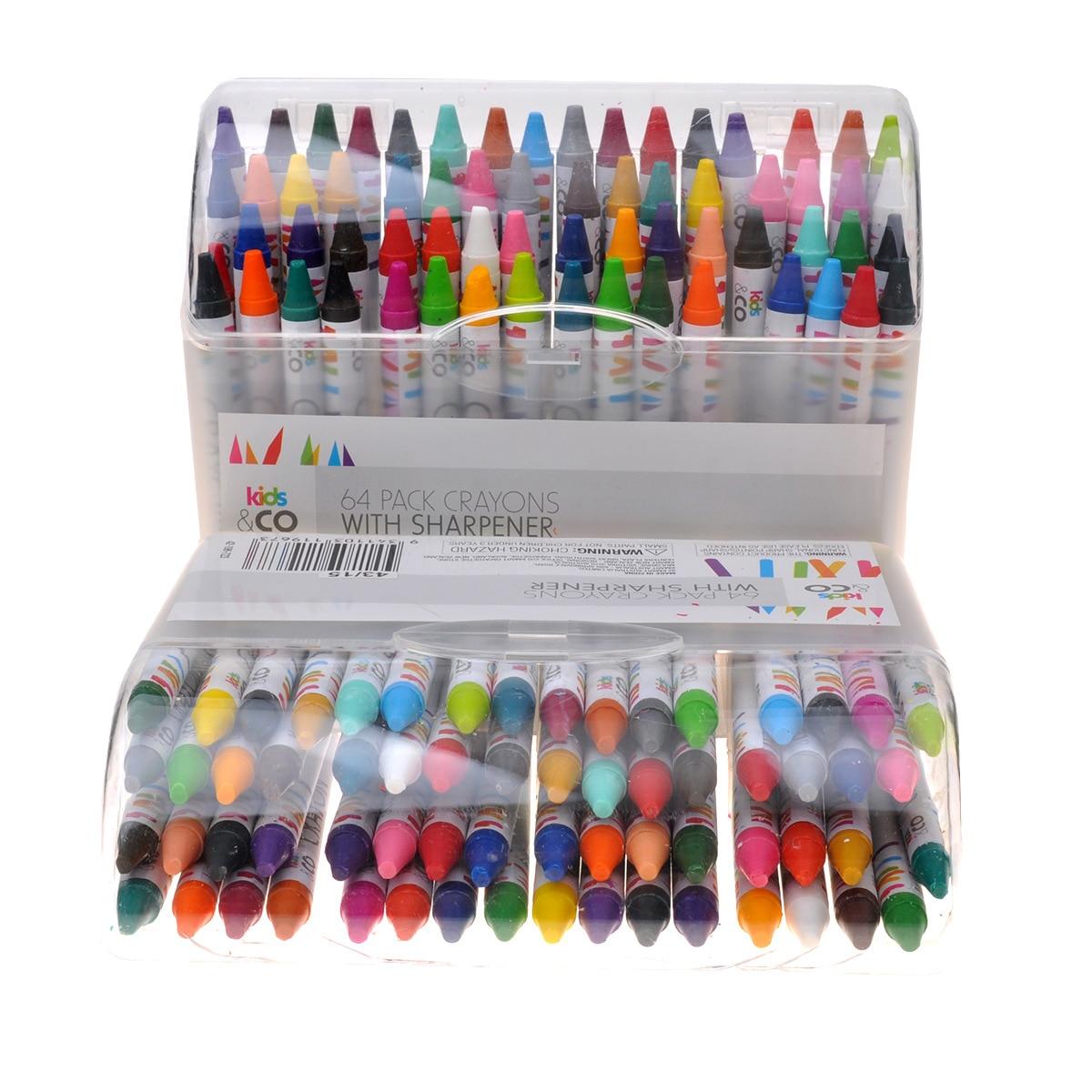 Ofis ve Okul Malzemeleri'ten Boya Kalemi'de 64 renk çocuk mum boya/güvenli renk öğrenci sanat graffiti boya fırçası renk mum boya/sanat malzemeleri/çizim/boya kalemi title=