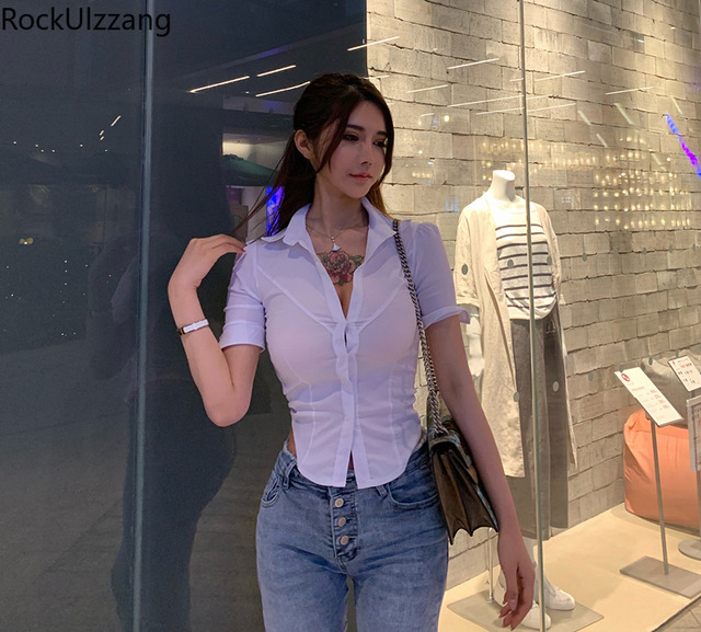 Fashion Simple Casual Solid White Short Sleeve Button Slim Crop Top Sexy Office Ladies Turndown Blouse Women Plus Size Shirt Tee 3