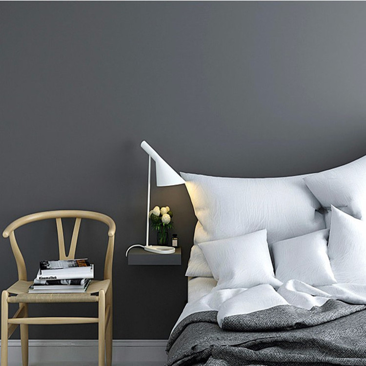 Northern European-Style INS-Style Dark Gray Solid Color Self-Adhesive Wallpaper Solid White Light Gray Clothing Store Dormitory