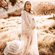 Boho Maternity Dress For Photography Bohemian Maternity Photography Long Dress Sides Slit Long Train Pregnancy Photo Shoot Dress