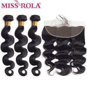 Miss rola cabelo pré-colorido brasileiro onda do corpo não remy cabelo 3 pacotes com 13*4 fechamento frontal do laço 100% tecer cabelo humano