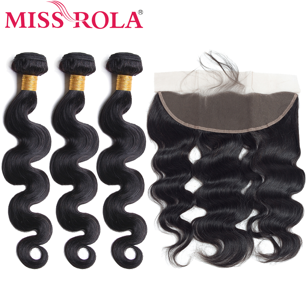 Miss Rola Hair Pre-colored Brazilian Body Wave Non-Remy Hair 3 Bundles With 13*4 Lace Frontal Closure 100% Human Hair Weaving