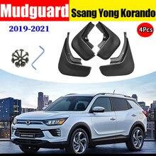 Mudflaps para ssang yong korando para-lamas fender mud flap guarda respingo acessórios do carro auto styline frente traseira 4 pces 2019-2021