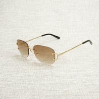 Vintage Rimless Oval Sunglasses Men Eyewear Women For Summer Luxury Eyeglasses Metal Glasses Frame Oculos Outdoor Gafas