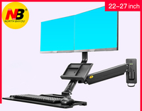 NB MC27 2A Ergonominc Sit Stand Workstation Wall Mount 22 27 inch Dual Monitor Holder Arm with Foldable Keyboard Plate