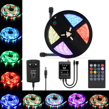 12V RGB Led Strip Neon light SMD 5050 Waterproof 5M 10M 15M Ambilight Diode RGB 5050 Led Tape Neon lamp Controller Adapter Set