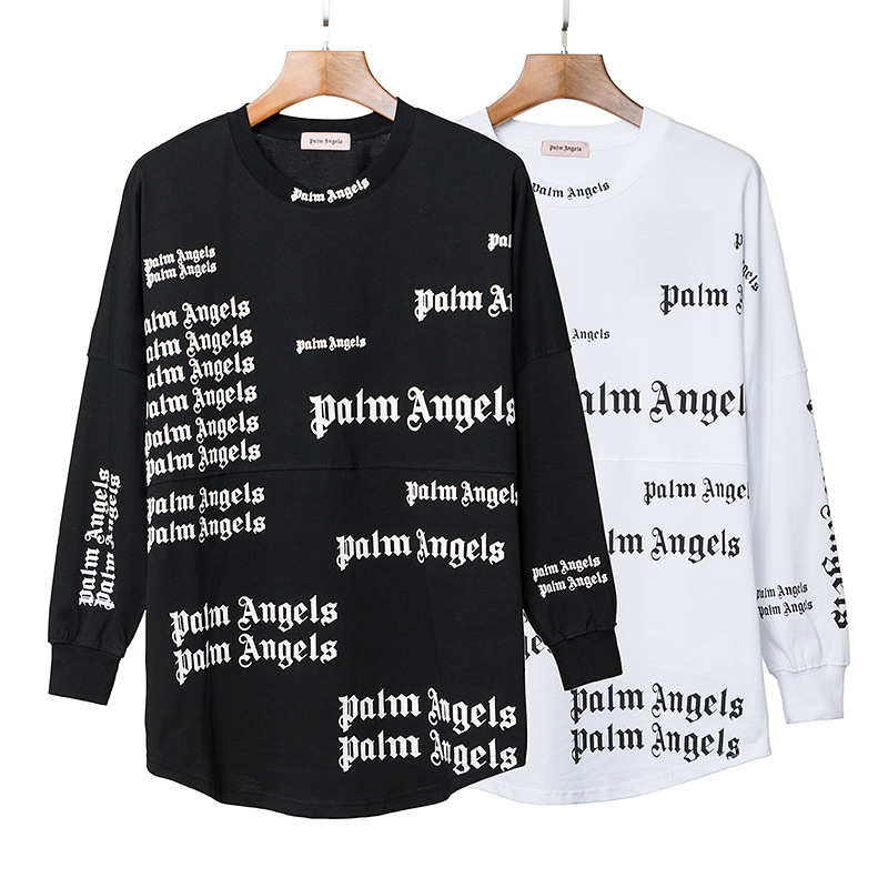 Palm Popular Brand Full Printed Letter Cotton Long-sleeved T-shirt Spring And Autumn Casual Fashion Palm Angel Loose-Fit Couples