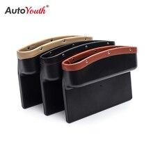 AUTOYOUTH caja de almacenamiento de cuero sintético para asiento de coche, organizador Universal lateral para asiento de coche, bolsillo para huecos, 3 colores