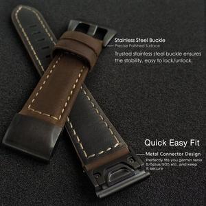 Image 2 - YOOSIDE Fenix 6 Wristband 22mm Quick Fit Genuine Leather Watch Band Strap for Garmin Fenix 5/5 Plus/Forerunner 935/Instinct