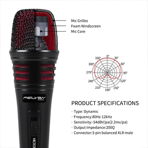 Image 2 - FELYBY Dynamic Microphone Cardioid Metal Wired Handheld Vocal Mic Plug and play For Karaoke Conference Speech Live