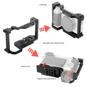 Image 2 - Andoer Camera Cage Video Stabilizer with Detachable Quick Release Plate Cold Shoe Mount for Sony A6500/A6400/A6300/NEX7 Camera