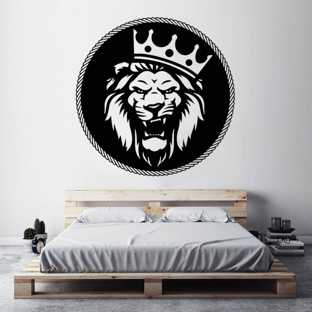 Lion King Vinyl Wall Decal For Living Room Head Crown Animal Wall Stickers Nursery Children Room Bedroom Decor CX308