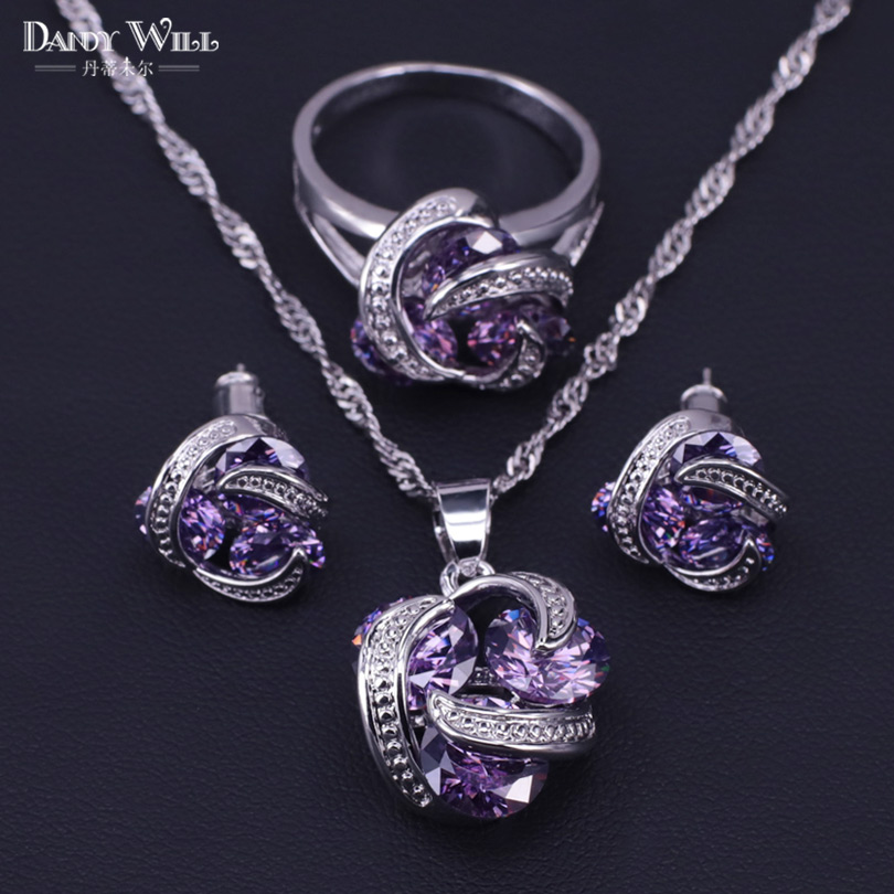 New Women 925 Sterling Silver Bridal Wedding Costume Jewelry Sets Fine round Pendants Necklaces Earring Rings Set Accessory