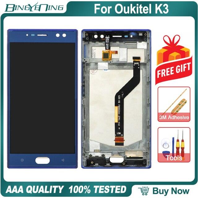 BingYeNing 5,5 pulgadas para Oukitel K3 LCD y Digitalizador de pantalla táctil con marco de pantalla accesorios de teléfono herramientas de repuesto de montaje