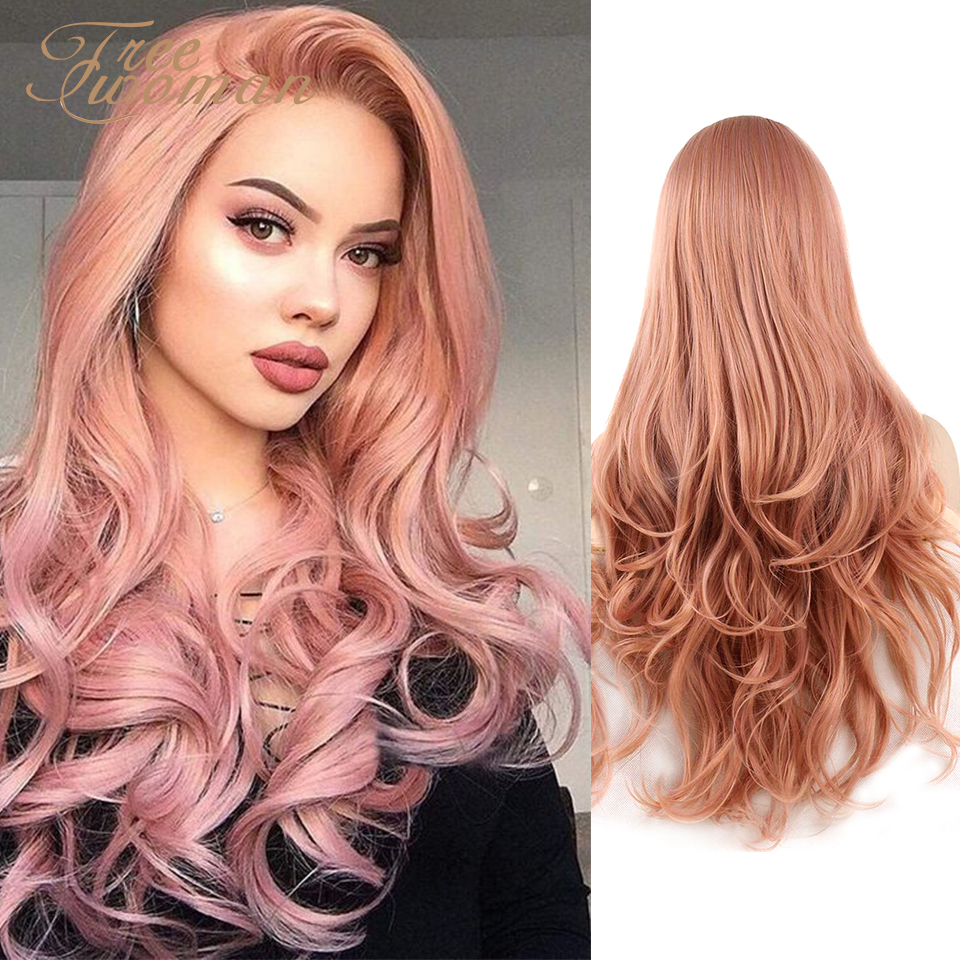 FREEWOMAN Synthetic Lace Front Wig Wavy Fake Hair Extension Cosplay Wigs For Women 24Inch Blonde Purple Pink Wig Hair Synthetic